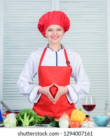 Improve culinary skill. Best culinary recipes to try at home. Welcome to my culinary show. Woman pretty chef wear hat and apron. Uniform for professional chef. Lady adorable chef teach culinary arts.