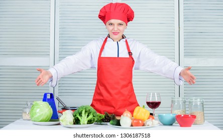 Improve culinary skill. Welcome to my culinary show. Woman pretty chef wear hat and apron. Uniform for professional chef. Lady adorable chef teach culinary arts. Best culinary recipes to try at home.