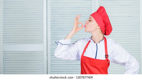 Improve culinary skill. Welcome to my culinary show. Woman pretty chef wear hat and apron. Uniform for professional chef. Best culinary recipes to try at home. Lady adorable chef teach culinary arts.