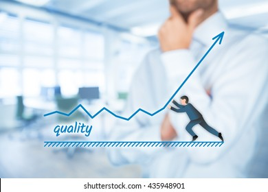 Improve quality concept. Manager (businessman, coach, leadership) want to improve product quality.
