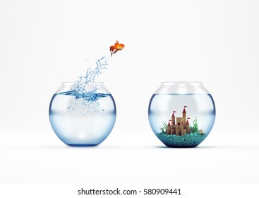 Improvement and progress concept with a jump of goldfish 3D Rendering