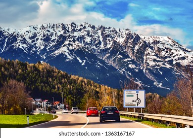 Imst,South Tyrol,Italy-April 07,2019:Cars traffic to Imst city.