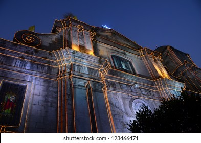 The Imus Cathedral in Imus, Cavite, Philippines, lit for Christmas.