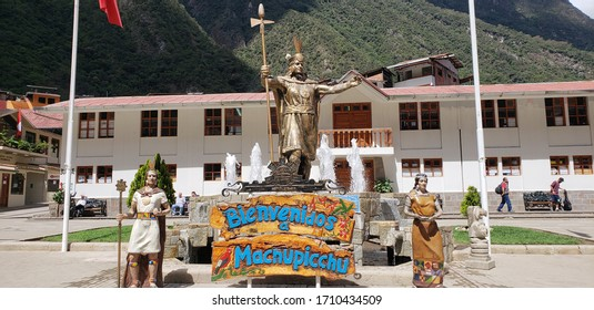 Inacan monument at the base of Machu Picchu. August 23, 2018. Aguas Calientes, Peru