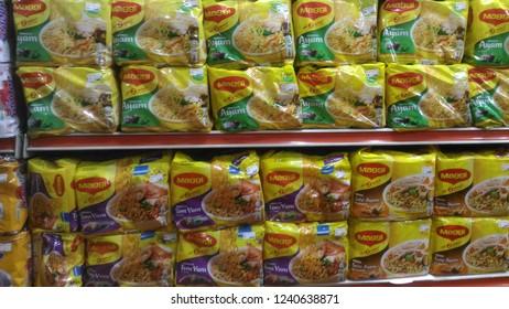 INANAM, KOTA KINABALU SABAH - NOV 24, 2018: Maggi brand instant noodle displayed on a shelves for aelling in a supermaket in Kolombong, Inanam Sabah