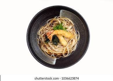 Inaniwa udon with shrimp tempura isolated on white background