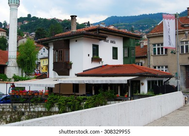 Inat Kuca (House of Spite),SARAJEVO,BOSNIA AND HERZEGOVINA-JULY 13, 2105:Cultural monument from the Ottoman Empire, one of the legends of Sarajevo. http://www.inatkuca.ba/en/page.php?id=2