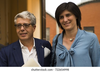 Inauguration of the Book Museum in Turin present the mayor of Turin Chiara Appendino and Cesare Verona president of Aurora during at the company Aurora on September 15, 2016 in Turin, Italy