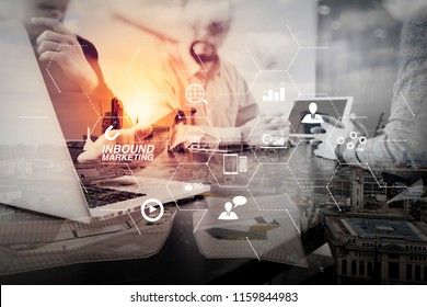 Inbound marketing business with virtual diagram dashboard and Online or permission market concept.co working team meeting concept,businessman using smart phone and digital tablet and laptop computer