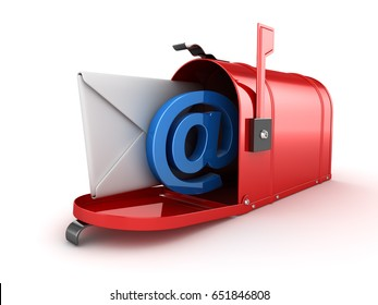 Inbox Concept with Mailbox , This is a 3d Rendered Computer Generated Image. Isolated on White.