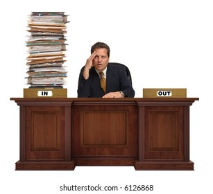 4bf7ce95 an in-box on a corporate deskwith overflowing with a mountain of paperwork  with with