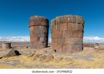 Inca chullpa funerary tomb towers of Sillustani, Peru.