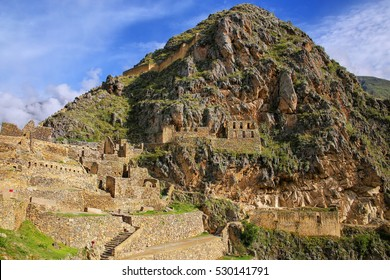 Inca Fortress with Terraces and Temple Hill in Ollantaytambo, Peru. Ollantaytambo was the royal estate of Emperor Pachacuti who conquered the region.