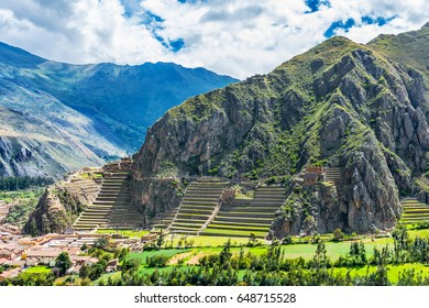Inca Fortress with Terraces and Temple Hill in Ollantaytambo, Cusco, Peru. Ollantaytambo was the royal estate of Emperor Pachacuti who conquered the region