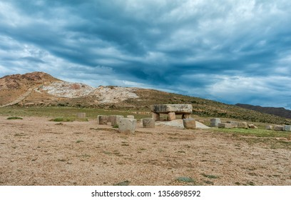 Inca prehistoric ruins on Island of Sun (Isla del Sol), Stone table - sacrificial altar, ruins on the on Titicaca lake in Bolivia