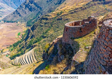 The inca ruins of Pisac with its terraced fields near the city of Cusco, Peru.