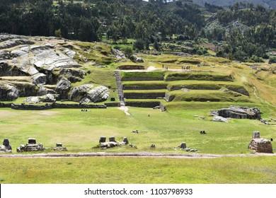 Inca ruins of Sacsayhuaman in Cusco, Peru. The historic capital of the Inca Empire.