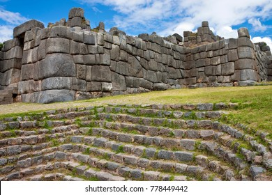 Inca stonework at Sacsayhuaman near Cuzco in Peru. A UNESCO World Heritage Site.