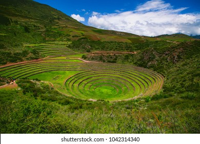 Inca terraces of Moray, Peru. They were used for agricultural experiments. Each level has its own microclimate. Moray is an archaeological site near the Sacred Valley in Peru.