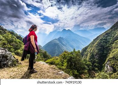 Inca Trail, Peru - August 03, 2017: Backpacker on the Inca Trail, Peru