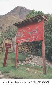 Inca Trail, Peru: August 11th, 2018:A plubic Inca Trail Map with name of the Inca's Ruins all on this Trail, Machu Picchu, Cusco, Peru.