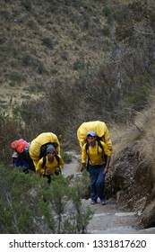 Inca Trail, Peru: August 12th, 2018:Inca porters are carrying tourists' luggage and camping facilities during Inca Trail Trek to Machu Picchu, Peru.