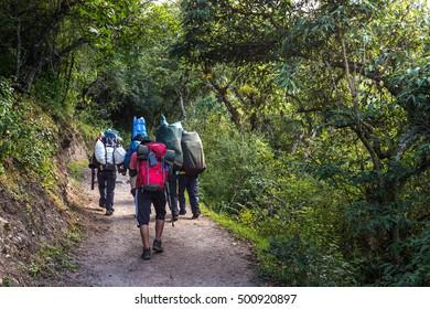 Inca Trail 's hiking to Machu Picchu, Peru