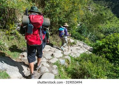 The Inca Trail 's treaking , Machu Picchu, Peru