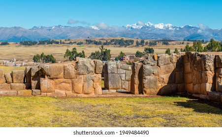 Inca walls with the snowcapped Salkantay Andes peak, Chinchero Inca ruin, Sacred Valley of the Inca, Cusco province, Peru.