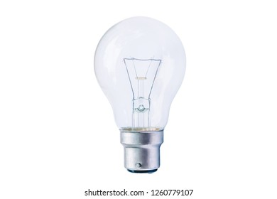 Incandescent energy saving lighted bulb isolated on pure white background