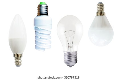 Incandescent, fluorescent and diode  lamps on a white background