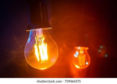 Incandescent lamp. Garland of lamps.