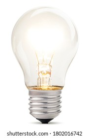 An incandescent lamp glows on a white background. Isolated