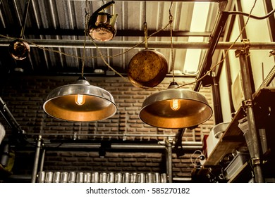 Incandescent lamps in a modern cafe. Edison lamp. Vintage Style.