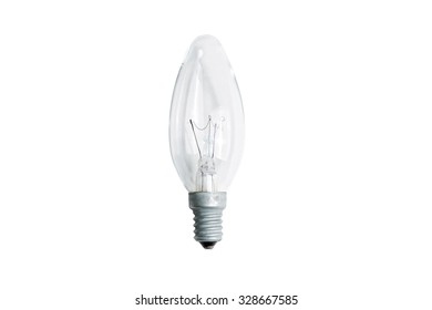 Incandescent light bulb E14  isolated on white background