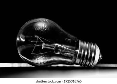incandescent light bulb on a dark background