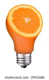 incandescent lightbulb with orange slice inside isolated over white with a clipping path