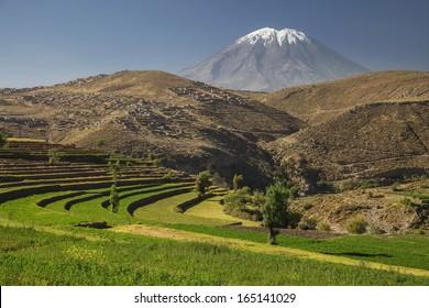 Inca's garden and active volcano Misti, Arequipa, Peru. Color horizontal image.