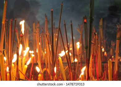 Incense candles instead of worship illuminated on Buddhist Lent Day Is the importance of Buddhists Thailand Bangkok