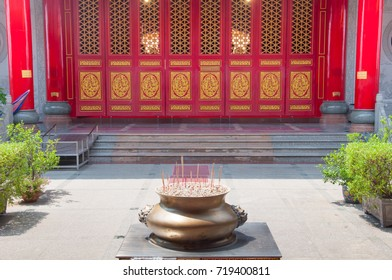 Incense pot is placed outside the door to give worship before into the church.