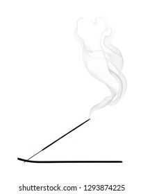 Incense, silhouette with smoke on white background