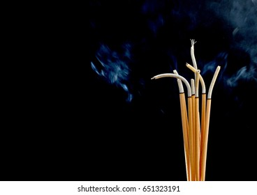 Incense smoke worship Black background