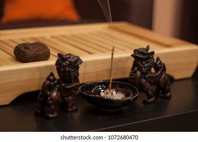 incense stick before china tea ceremony