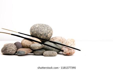 incense sticks, pebbles. Spa composition