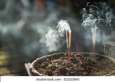 Incense sticks(joss sticks) burning.