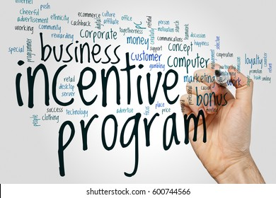 Incentive program word cloud concept on grey background