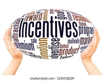 Incentives word cloud hand sphere concept on white background.