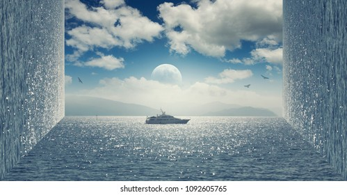 Inception effect. Boat on the sea. Cloudy sky.