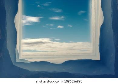 Inception effect. Mountains. Landscape. Blue sky.