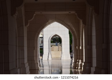 Inception entrance at medieval arabic building at Royal Opera house in Oman, Muscat